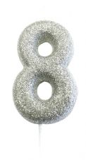 Number 8 Silver Glitter Candle